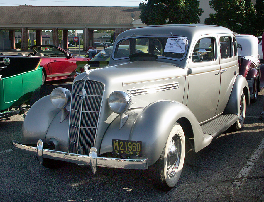 The 28th street cruise started out with a bang with for 1935 plymouth 4 door sedan